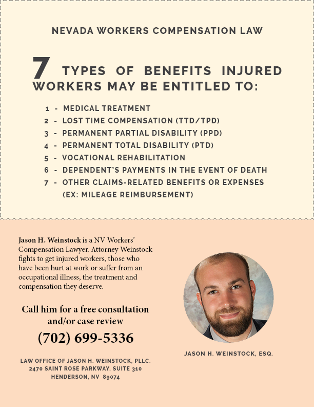 7 Types of benefits injured workers may be entitled to: Nevada Workers Compensation Law Attorney